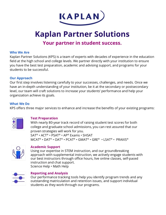 Kaplan Partner Solutions Summary